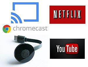 Google Chromecast HDMI Streaming versão 2 - Transforme sua TV em SmartTV