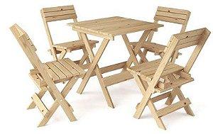 Conjunto mesa e cadeiras dobráveis