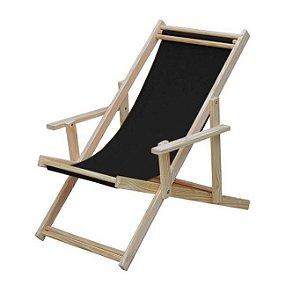 Cadeira espreguiçadeira de madeira de pinus tecido preto