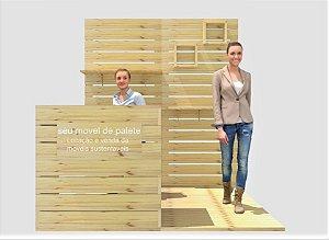 Stand de pinus sustentável para eventos e feiras de negócios - pavilhão 200x200 cm