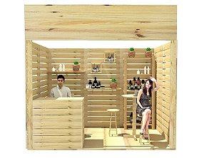 Stand de pinus sustentável para eventos e feiras de negócios - pavilhão 200x300 cm