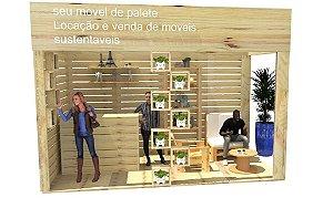 Stand de pinus sustentável para eventos e feiras de negócios - pavilhão 3x4 metros