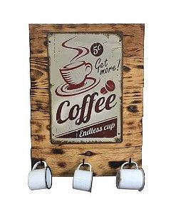 Painel Coffe Cup com 3 canecas esmaltadas