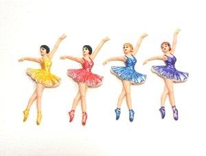 APLIQUES P/ LAÇOS - Bailarinas de biscuit - pacote c/ 4 unid.