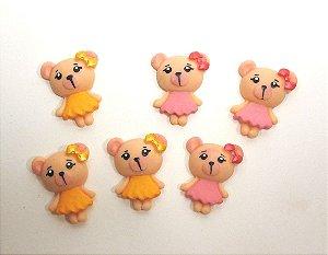 APLIQUES P/ LAÇOS - Ursinhas de biscuit - pacote c/ 6 unid.
