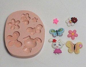 081 - Coelha mini Borboletas/Flores