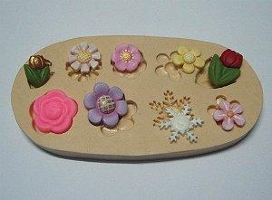 838 -Floco de neve e flores minis frozen