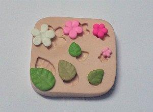 906 - 4 flores e 4 folhas minis