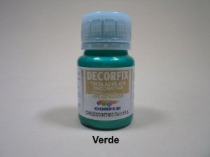 Tinta Acrílica Metálica DECORFIX - 37 ml - Verde