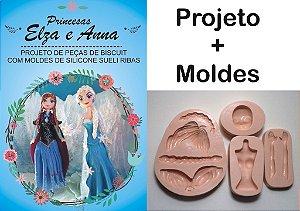 533 - Projeto + Kit Moldes Princesas Frozen Ana  e Elsa - Super detalhado  - 24,5 cm de altura