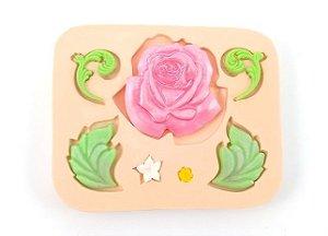 296 - Rosa com Folhas Grande