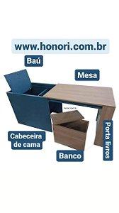 Baú multiuso com banco (cabeceira, baú, banco e mesa)