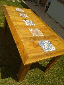 Mesa de Jantar decora com pisos - madeira maciça rústico
