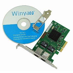 Placa de Rede PCI Express X4 Dual Giga Winyao WY576T