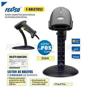 Leitor de Boletos e Código de Barras USB com Base Feasso F-Boleto52