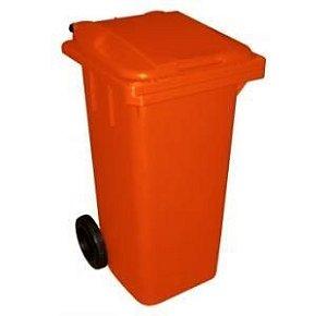Lixeira Container Plástica de 120 e 240 Litros Laranja com Rodas