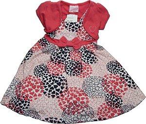 Vestido vermelho Alakazo com lacinho na cintura e Blusinha