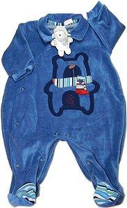 Macacão Plush azul escuro com ursinho e detalhes bordados