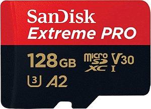Cartão de Memória Sandisk, 128gb, Micro SDXC, Extreme Pro, 170mbs, Classe 10, 4K