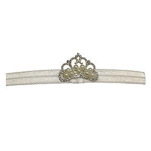 Faixa com mini coroa e pérolas - Cod 22.248 - Branca
