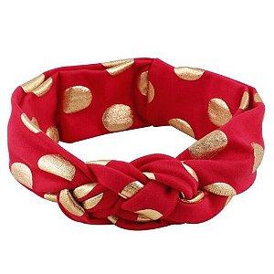 Faixa turbante trançado - Cod 22.252 - Vermelha com bola dourada