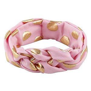 Faixa turbante trançado - Cod 22.252 - Rosa com bola dourada