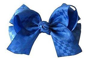 Laço duplo com pontas - cód. 17.173 - Azul Royal (fita xadrez)