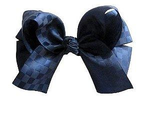 Laço duplo com pontas - cód. 17.173 - Azul Marinho (fita xadrez)