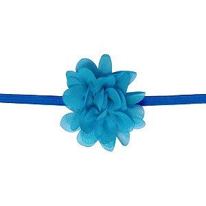 Faixa com mini flor de tecido - Cod 22.223 - Azul