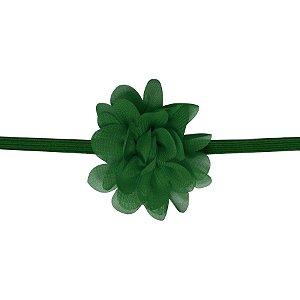 Faixa com mini flor de tecido - Cod 22.223 - Verde