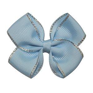 Laço em x pequeno - Cód. 13.161 - Azul bebe com borda prateada