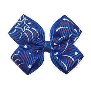 Laço em x pequeno - Cód. 13.161 - Azul com estrelas