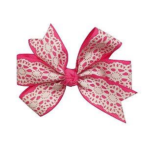 Laço duplo de pontas - modelo  Abby - cód. 13.165 - Rosa rendado