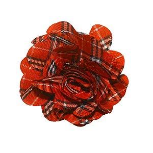 Laço de flor de tecido - cód. 13.151 - Xadrez vermelho