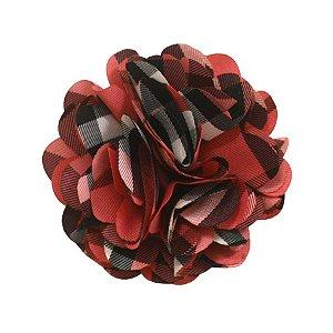 Laços de flor de tecido - cod. 13.151 - Xadrez rosa