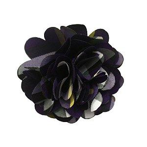 Laços de flor de tecido - cód. 13.151 - Xadrez roxo