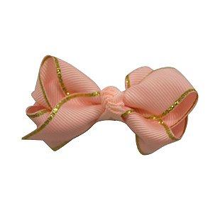 Laço em X modelo borboleta pequeno - cód. 13.197 - Rosa borda dourada