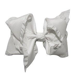 Laço médio em fita trabalhada - Cod 13.258 - Branco