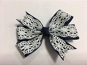 Laço duplo de pontas - modelo  Abby - cód. 13.165 - Azul Marinho Rendado