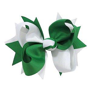Laço tipo borboleta GG - cód. 17.183 - Branco com verde