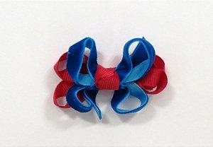 Laço tipo borborleta com base de fitas - cód. 14.162 - Veludo Vermelho com royal