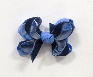 Laço tipo boborleta com base de fitas - cód. 14.162 - Veludo azul marinho com azul