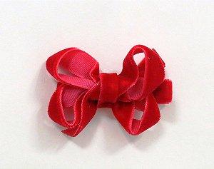 Laço tipo borboleta mini - cód. 14.169 - Veludo vermelho