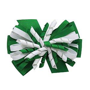Laço médio com fita enroscada - Cod 13.200 - Verde e branco