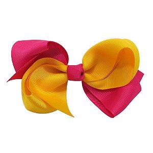 Laço médio duas cores - Cod 13.202 - Rosa com amarelo