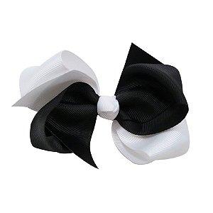 Laço médio duas cores - Cod 13.202 - Branco com preto
