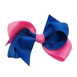 Laço médio duas cores - Cod 13.202 - Rosa com azul