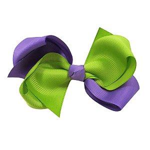 Laço médio duas cores - Cod 13.202 - Lilas com verde