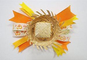 Laço de festa junina de fita colorida e chapeu - 13.270 - Laranja e amarelo