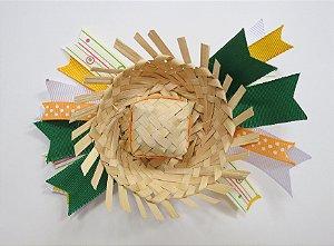 Laço de festa junina de fita colorida e chapeu - 13.270 - Verde e amarelo